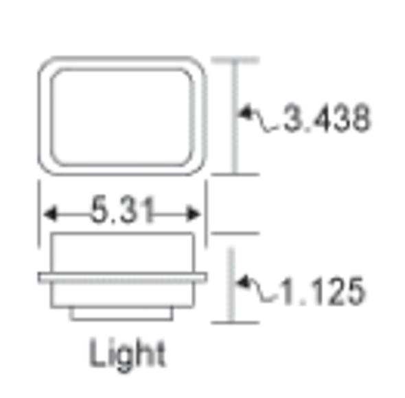Rectangular Back-Up Clear LED Light By Grand General