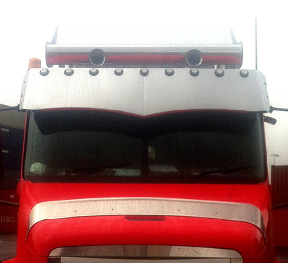 """Freightliner Century 18"""" Wicked Drop Visor 2003 And Older By Valley Chrome"""