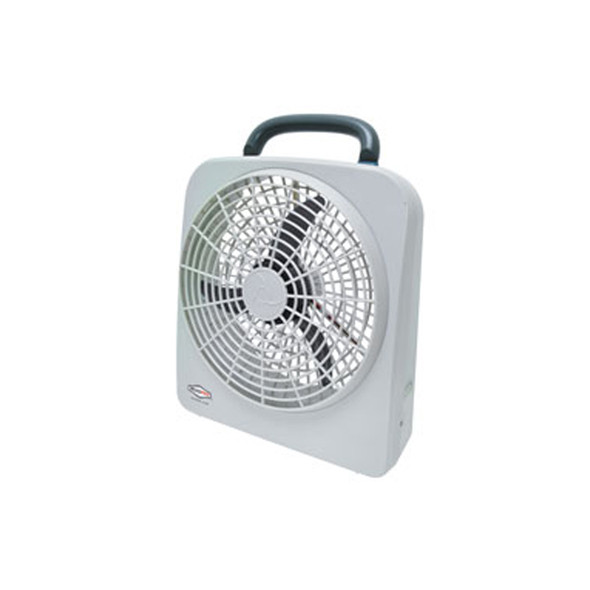 """RoadPro 10"""" 12 Volt Or Battery Dual Power Portable Fan Front View"""