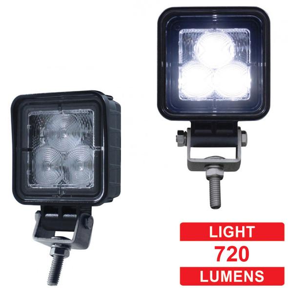 High Power 3 LED Compact Square Flood Work Light - Lumens