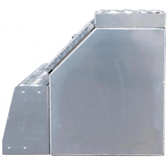 "24"" Diamond Plate Aluminum Saddle Tool Box With Step Side"