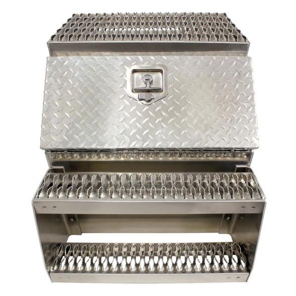 "24"" Diamond Plate Aluminum Saddle Tool Box With Step"