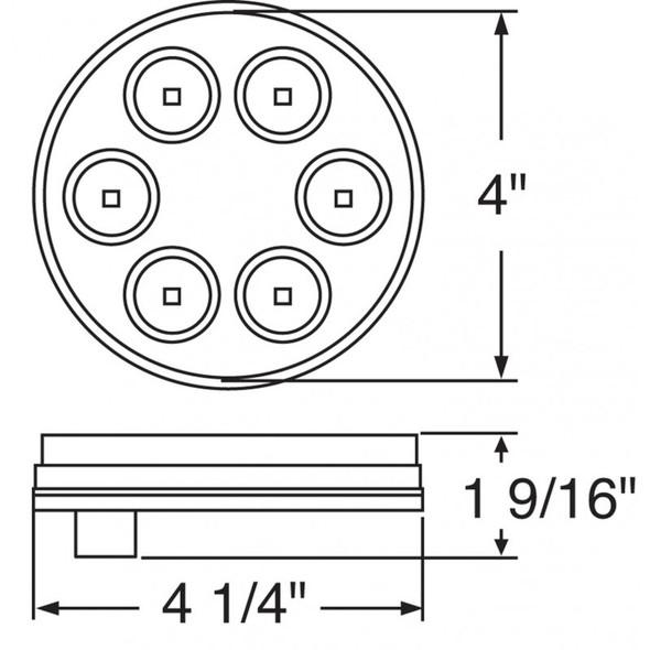 "6 LED 4"" Round Back-Up Light Measurements"