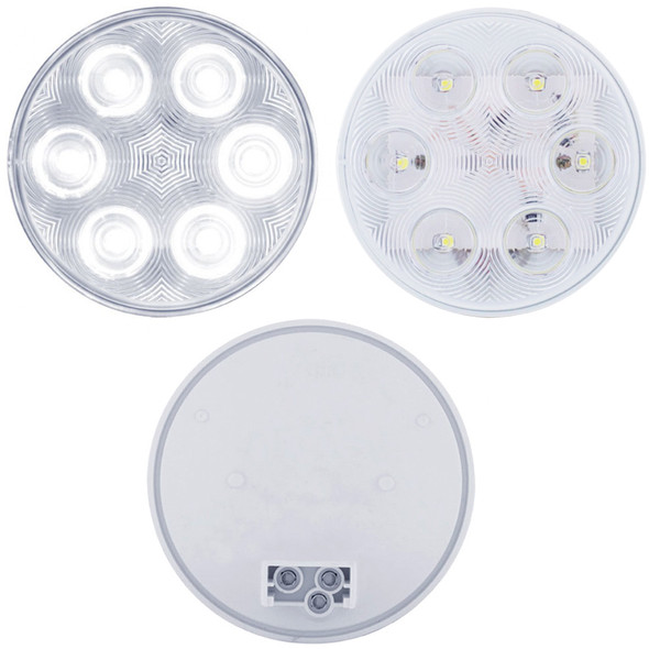 """6 LED 4"""" Round Back-Up Light - Front Lit Up, Front Unlit and Back View"""