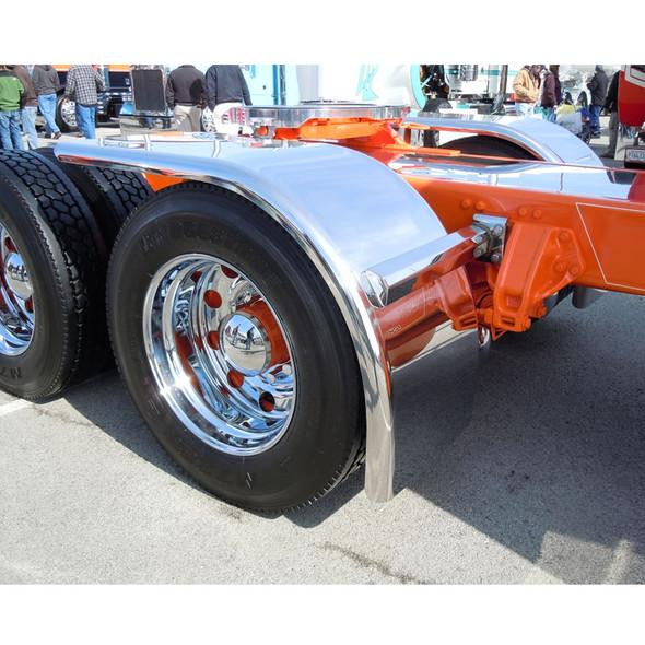 "Hogebuilt Stainless Steel 72"" Half Tandem Low Rider Fender On Orange truck"