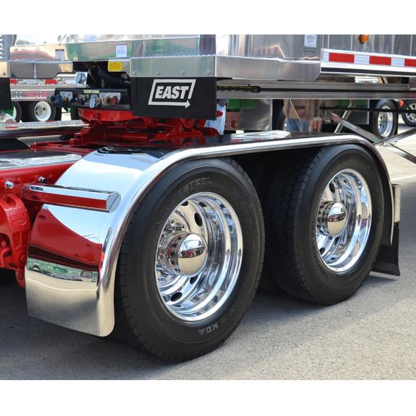 "Hogebuilt Stainless Steel 143"" Full Tandem Low Rider Fenders On Truck Front View"