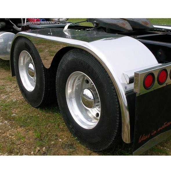 "Hogebuilt Stainless Steel 143"" Tear Drop Low Rider Full Tandem Fenders On truck"