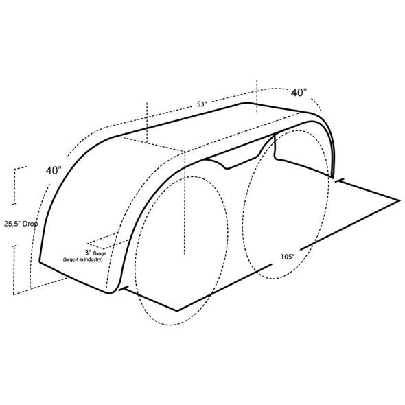 """Hogebuilt Stainless Steel 133"""" Flanged Full Tandem Fenders (Diagram)"""