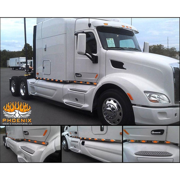 Peterbilt 579 Stainless Steel Cab Panels On White Truck Collage