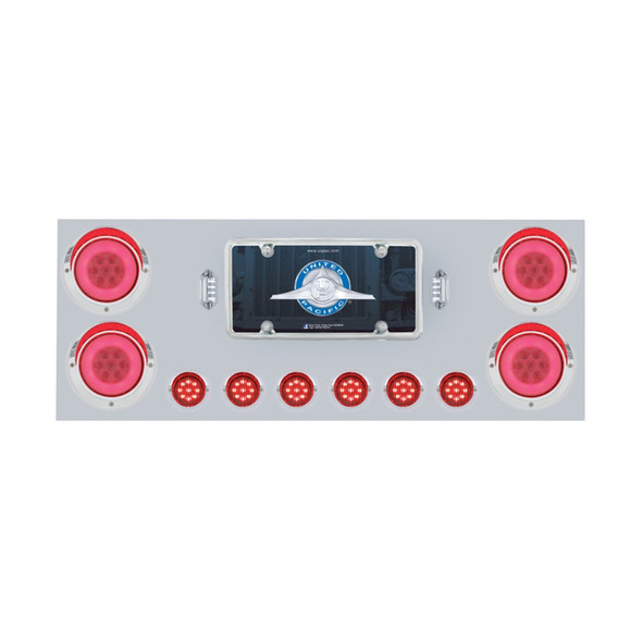 Stainless Rear Center Panel With GLO Halo LED Lights Red LEDs/Clear Lens On