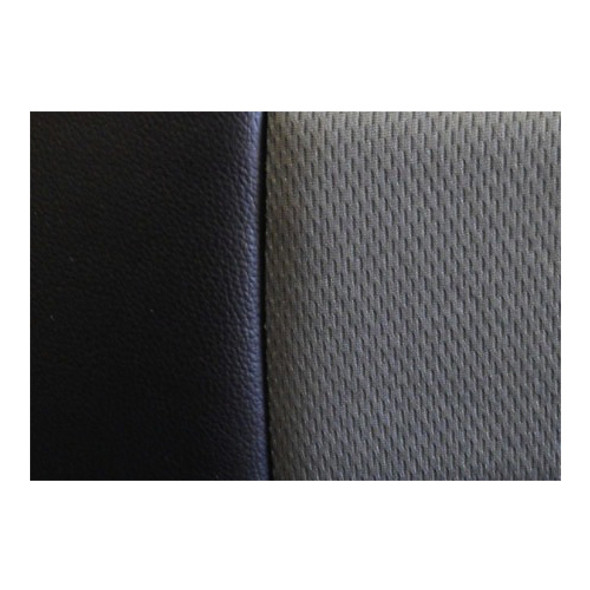 Black Vinyl Seat Cover With Dark Gray Fabric Close Up