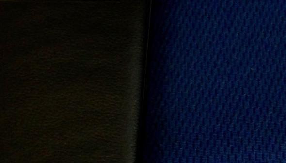 Black Vinyl Seat Cover With Dark Blue Fabric & Pocket