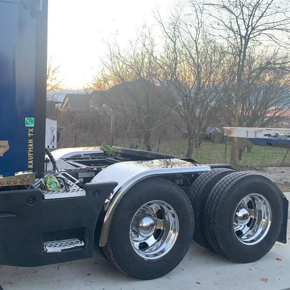 "Hogebuilt Value Line Stainless Steel 68"" Half Tandem Fenders On Blue Truck"