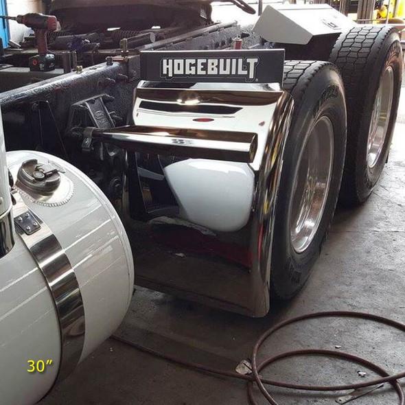 "Hogebuilt Stainless Steel Q Series Quarter Fenders 30"" On Truck Front View"
