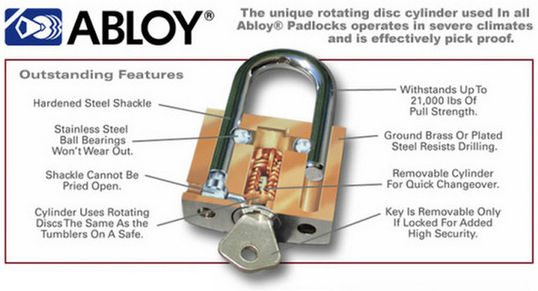 """The Enforcer Abloy Padlock Shrouded 1"""" Specifications"""