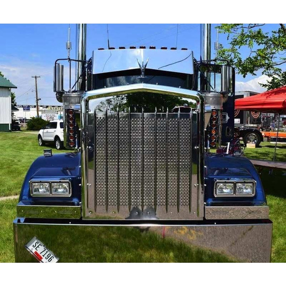 Kenworth W900 Punch Grill Insert Stainless Steel On Truck