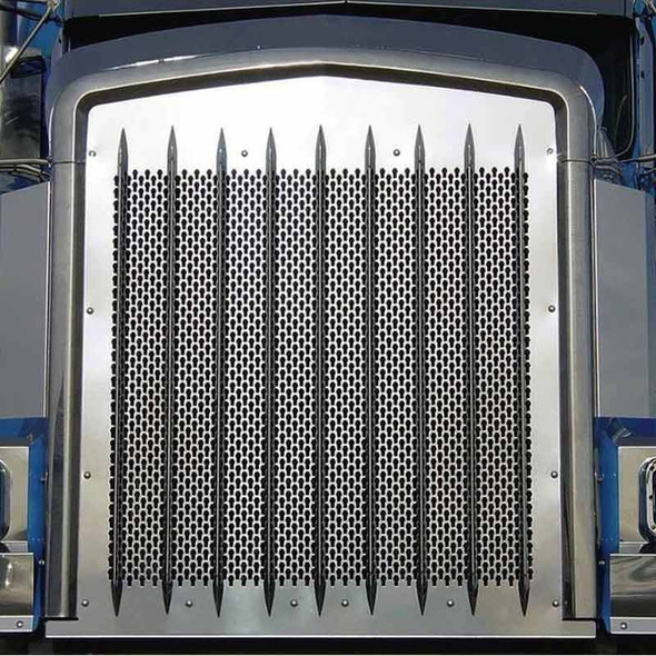 Kenworth W900 Punch Grill Insert Stainless Steel Close Up