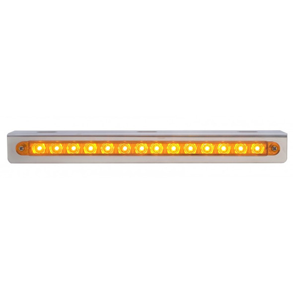 """Sequential 12"""" Amber LED Light Bar With Bracket"""