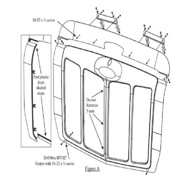 Peterbilt 579 Grill Surround Trim and Bug Deflector