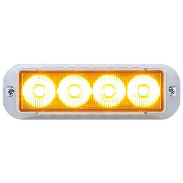 High Power LED Strobe Warning Light With Chrome Bezel - Amber