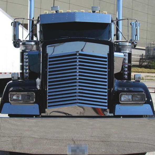 Kenworth W900L Angled Louvered Grill With 16 Bars On Black Truck