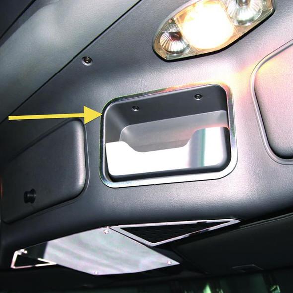 Freightliner Cascadia Stainless Steel Sunglasses Holder Surround Trim