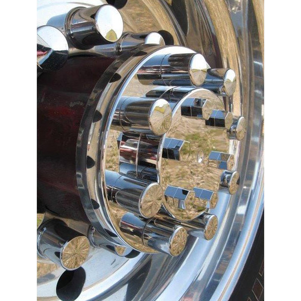 Lifetime Chrome Rear Axle Cover With Top Hat Style Nut Covers -Close Up
