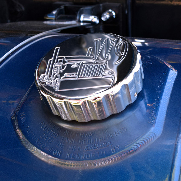 Chrome Kenworth W9 Fuel Cap Cover Ribbed - On Truck