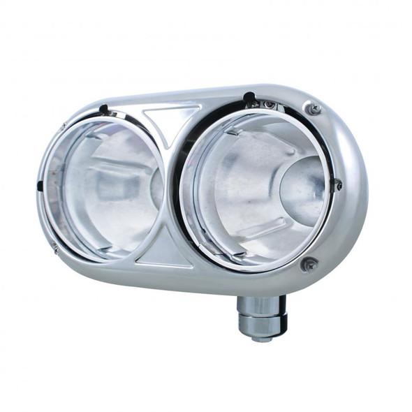 Peterbilt 359 Style Stainless Passenger Dual Round Headlight Housing