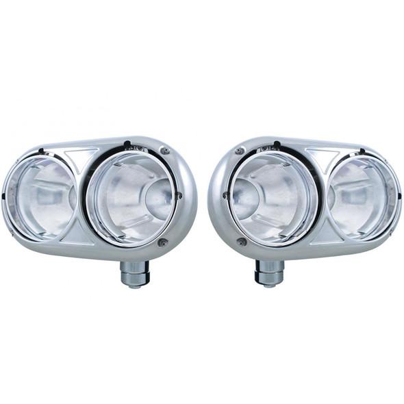 Peterbilt 359 Style Stainless Dual Round Headlight Housing