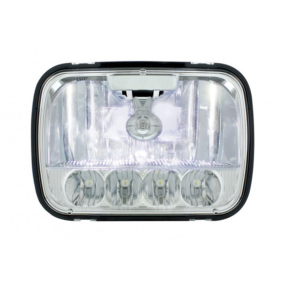 """5"""" x 7"""" High Power LED High & Low Beam Crystal Headlight With Low Beams On"""