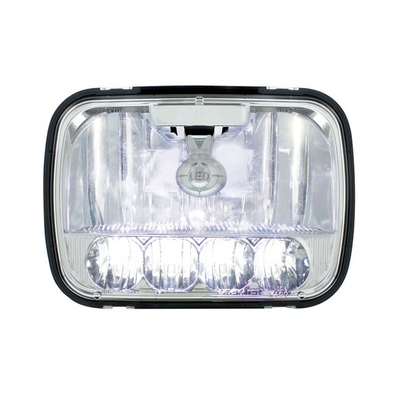 """5"""" x 7"""" High Power LED High & Low Beam Crystal Headlight With High Beams On"""