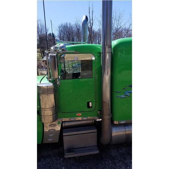 "Peterbilt 379 386 389 5"" Eagle Flange Chop Top Window Trim - On Green Truck"