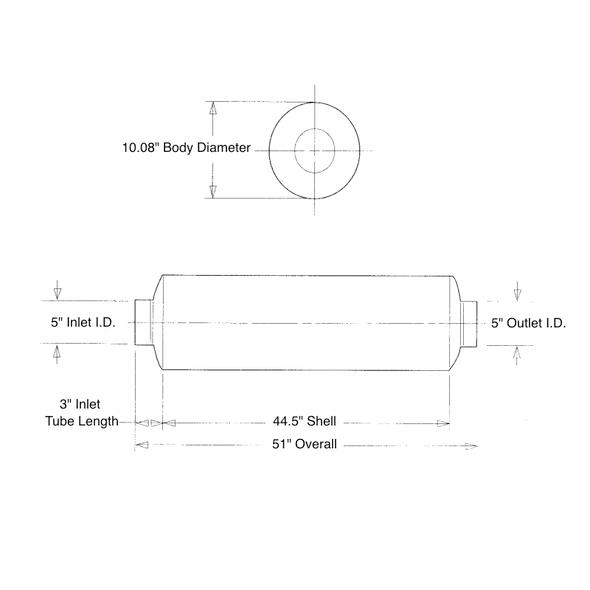 "10"" Muffler For Freightliner International Mack Volvo & Sterling Measurement Diagram"