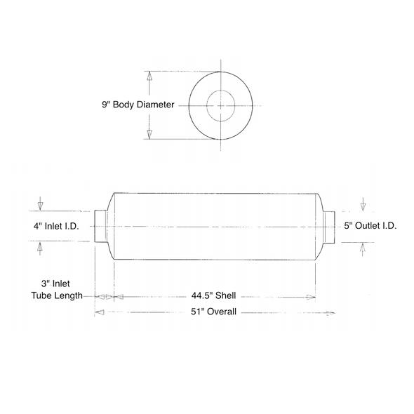 """9"""" Muffler For International 8100 Mack Granite CV MR LE R Measurement Diagram"""