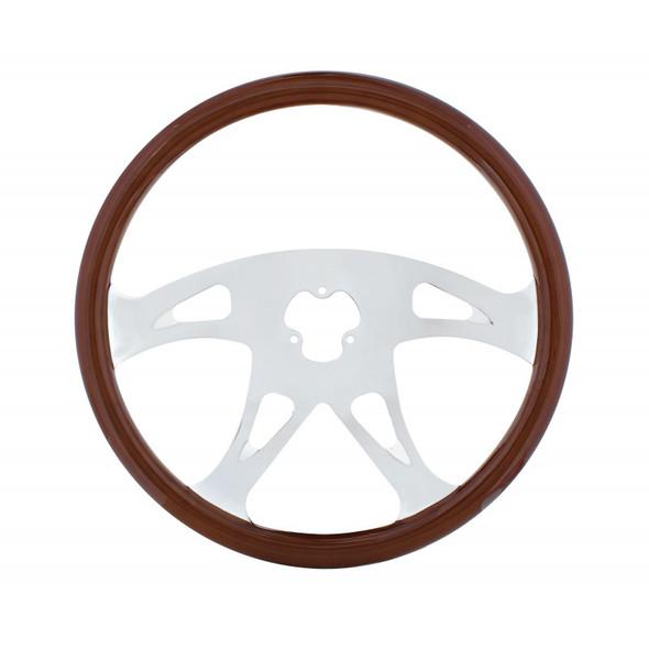 18Š— Mahogany 4 Chrome Spoke Boss Steering Wheel Without Hub