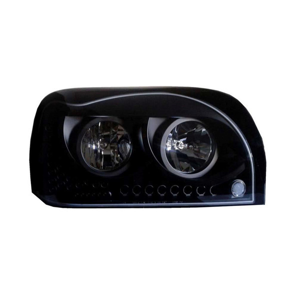 Freightliner Century Headlights Blacked Out with LEDs Passenger Side