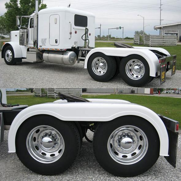 """Semi Truck 103"""" Fiberglass Full Fender Set With Brackets Painted White"""