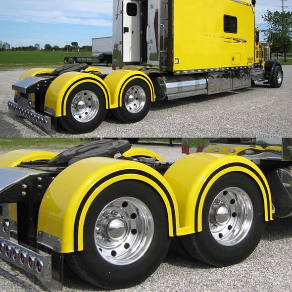 Semi Truck Fiberglass Double Hump Fender Set With Brackets Painted Yellow & Black