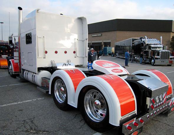 Semi Truck Fiberglass Double Hump Fender Set With Brackets Painted Orange & White