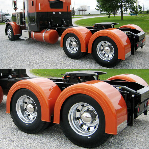 Semi Truck Fiberglass Single Axle Fender Set Painted Orange