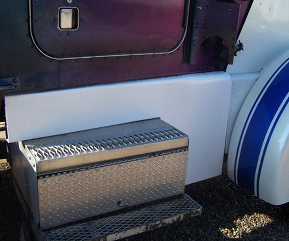 Peterbilt 359 Fiberglass Cab Cowl Panels Close Up Angled