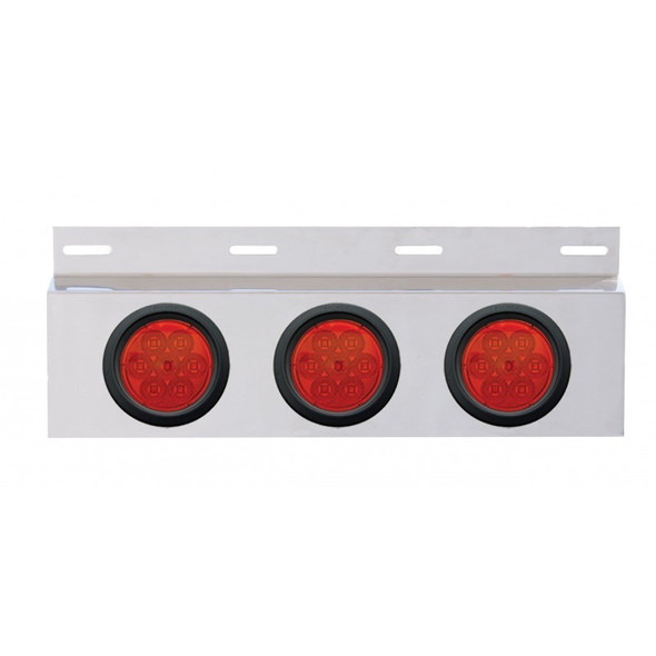 """Stainless Top Mud Flap Light Bracket With Three 4"""" LED Lights"""