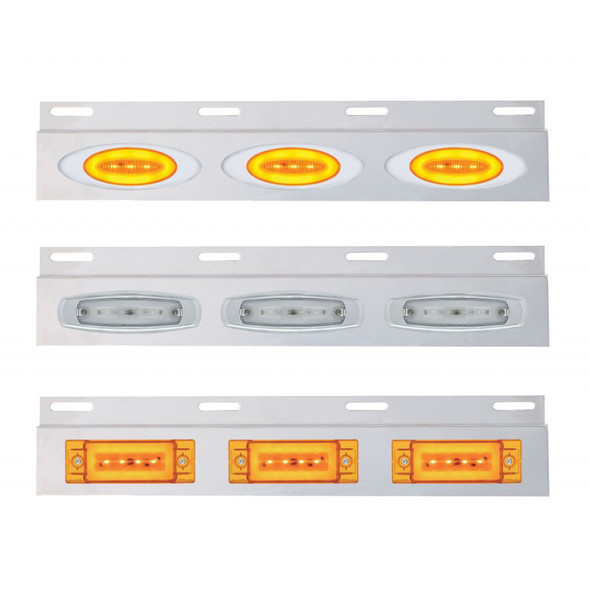 Stainless Top Mud Flap Light Bracket With Clearance Marker LED Lights