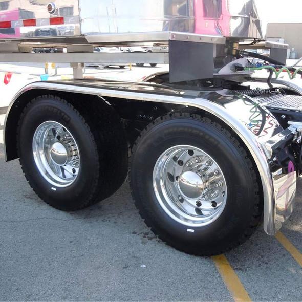 "Hogebuilt Stainless Steel 143"" Value Line Full Tandem Low Rider Fenders On Truck Side View"