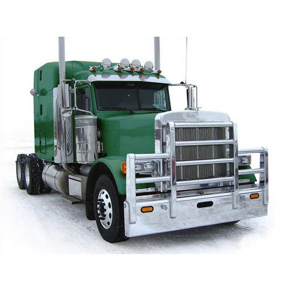 Peterbilt 378 379 SFA Herd Texas Bumper Grill Guard With Horizontal Bars On Truck