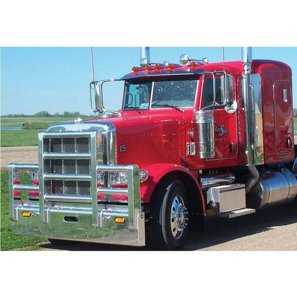 Peterbilt 388 389 SFA Herd Texas Bumper Grill Guard With Horizontal Bars On Truck