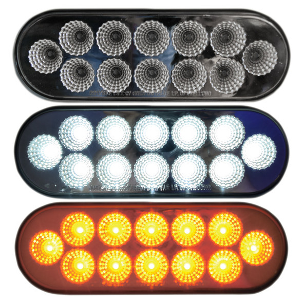 Dual Revolution Oval Turn Signal And Marker LED Light With Back Up Function
