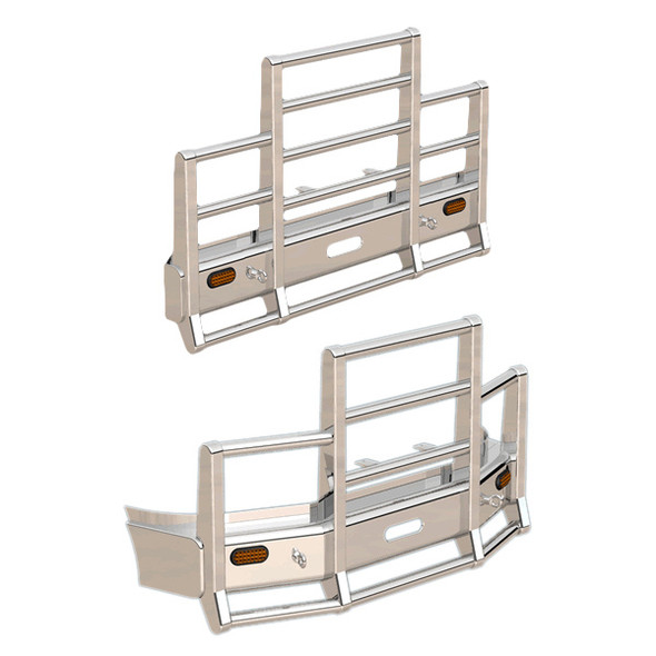Western Star 4700 Herd 4 Post Defender Bumper Grill Guard With Horizontal Bars & Signal Lights