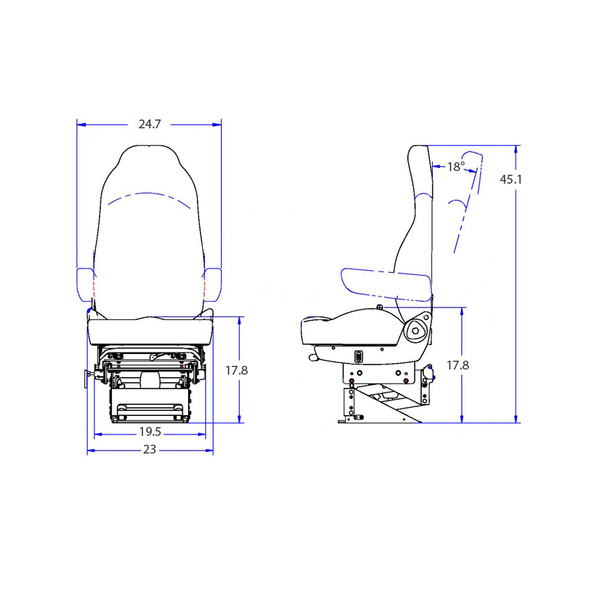 Bostrom Wide Ride II Tan Ultra Leather Serta Memory Foam Seat Dimensions